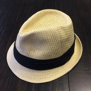 BCBG MAXAZRIA Straw Fedora Hat